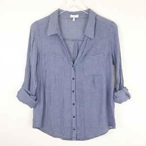 Joie Herringbone Button-up Blouse Size Small